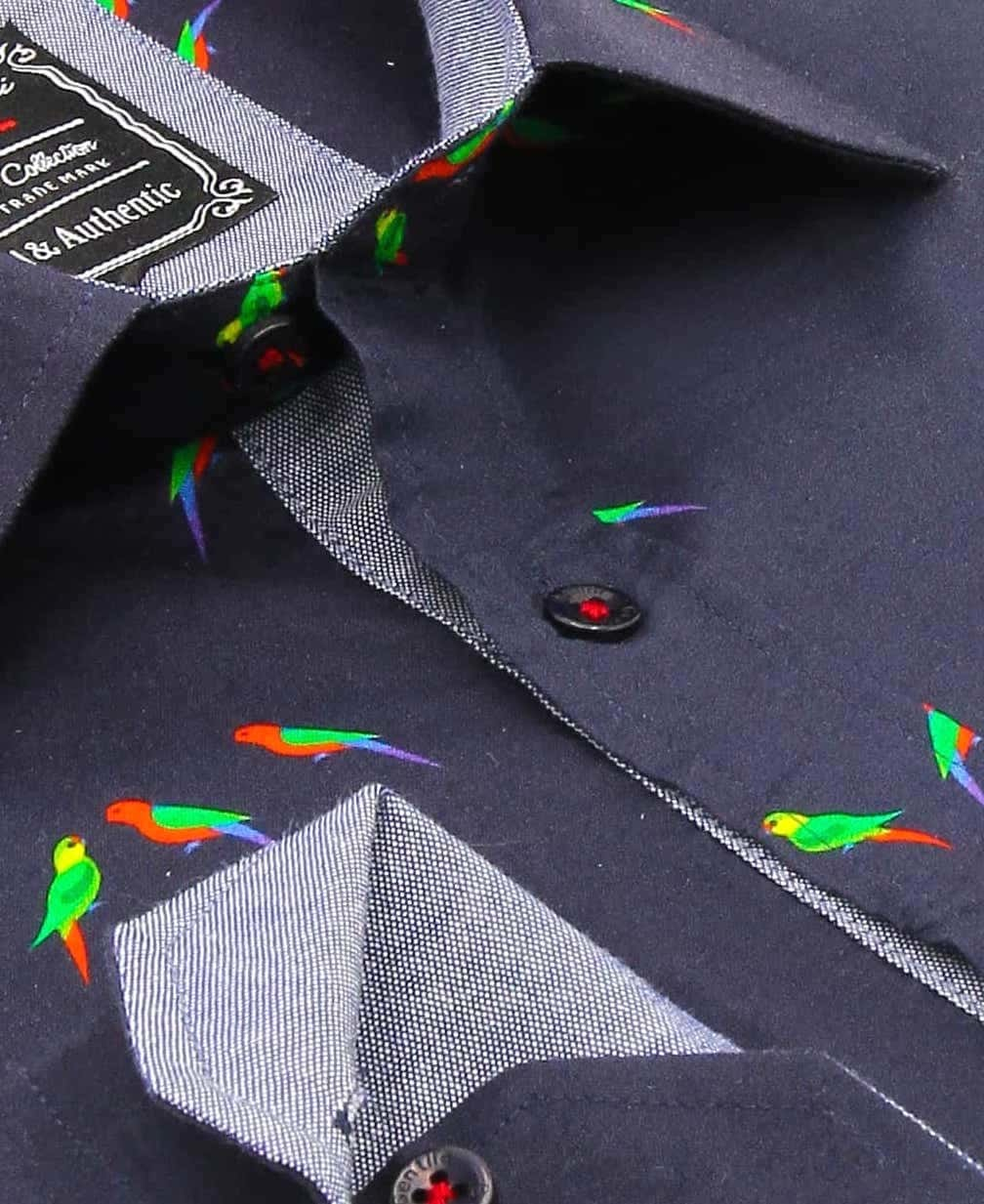 Heren Overhemd - Parakeet Lovers - Blauw-2