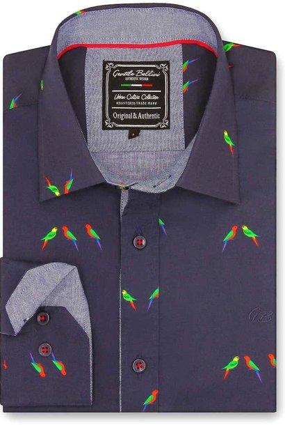 Heren Overhemd - Parakeet Lovers - Blauw