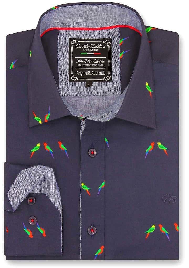 Heren Overhemd - Parakeet Lovers - Blauw-1