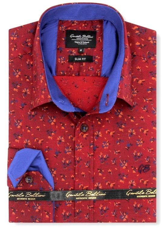Heren Overhemd - Stock Flower - Rood-1