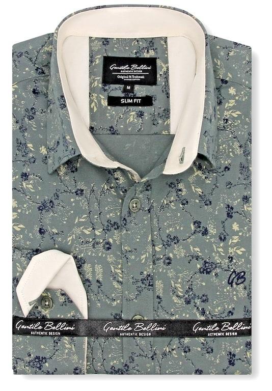 Heren Overhemd - Twin Orchids - Groen-1