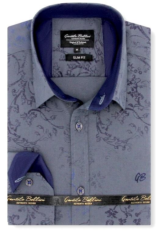 Heren Overhemd - Baroque Motif - Grijs-1