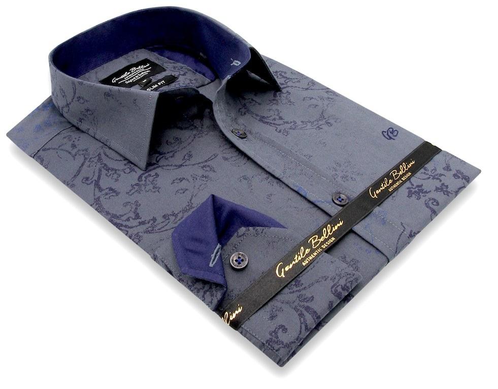 Heren Overhemd - Baroque Motif - Grijs-3