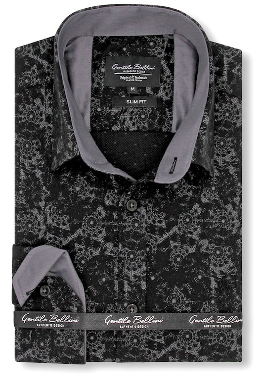 Heren Overhemd - Geometric universe - Zwart-1