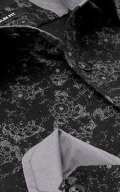 Heren Overhemd - Geometric universe - Zwart-2