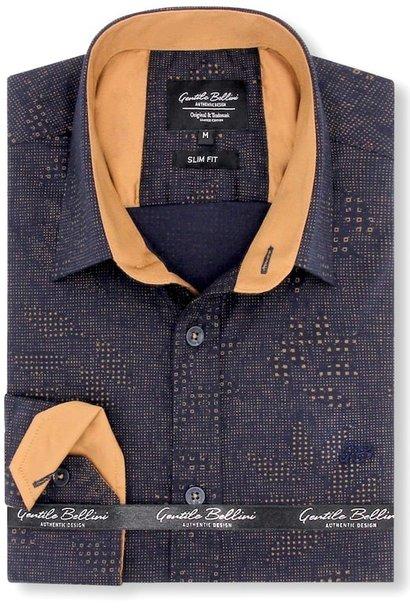 Heren Overhemd - Geometric Dots - Blauw