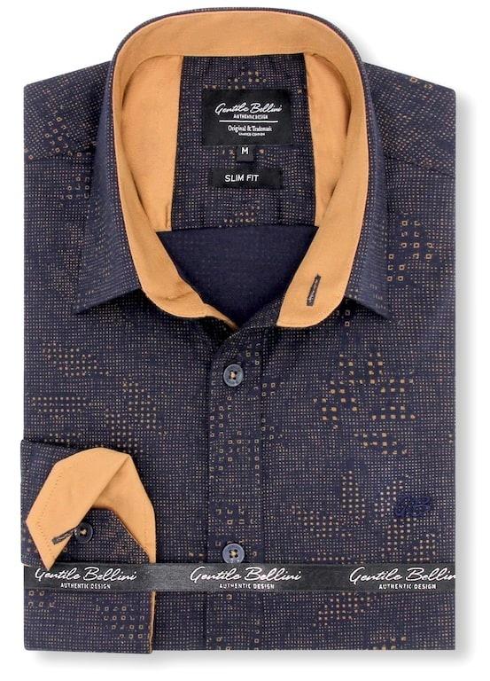 Heren Overhemd - Geometric Dots - Blauw-1
