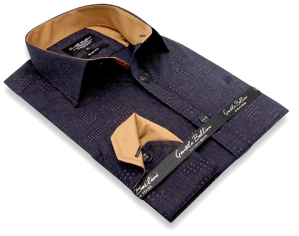 Heren Overhemd - Geometric Dots - Blauw-3