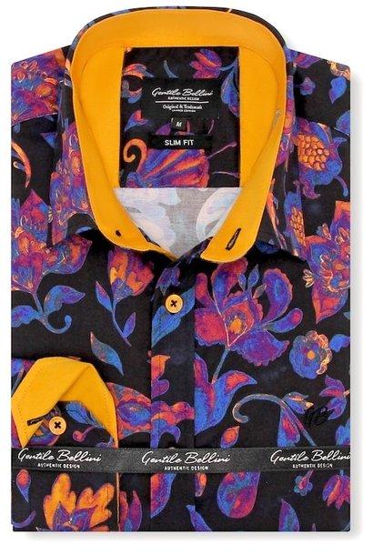 Heren Overhemd - Colorfull Paisley Satin - Zwart