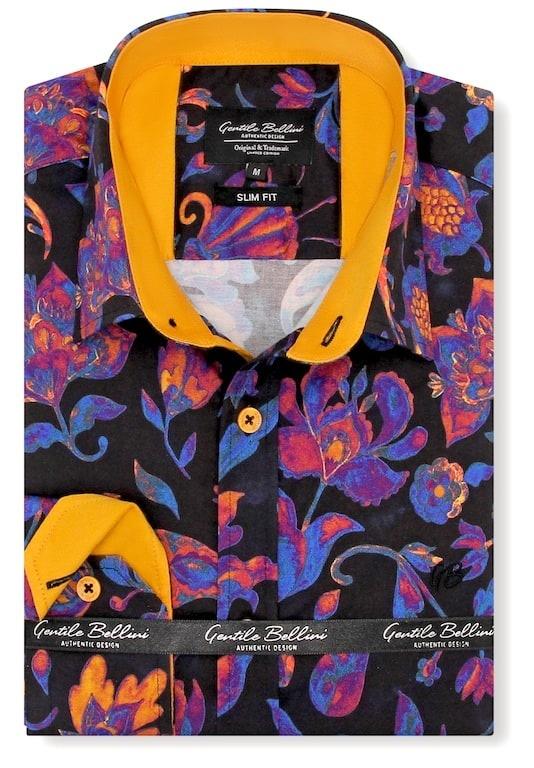 Heren Overhemd - Colorfull Paisley Satin - Zwart-1