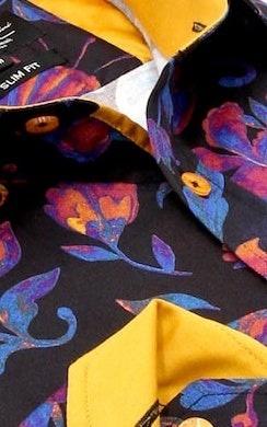 Heren Overhemd - Colorfull Paisley Satin - Zwart-2