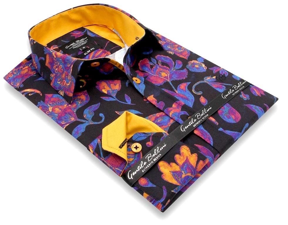 Heren Overhemd - Colorfull Paisley Satin - Zwart-3