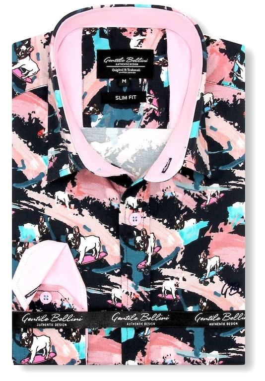 Heren Overhemd - Luxury Pug Dog Satin - Blauw-1