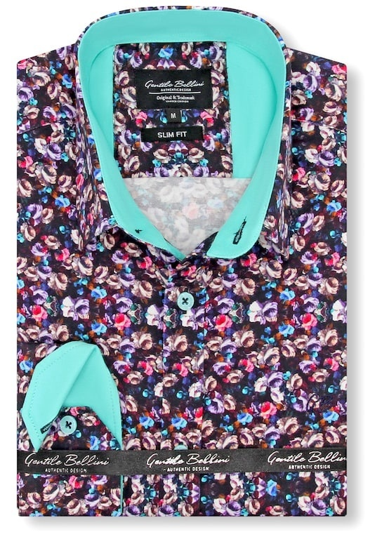 Heren Overhemd - Colored Bouquet Satin - Zwart-1