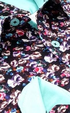 Heren Overhemd - Colored Bouquet Satin - Zwart-2