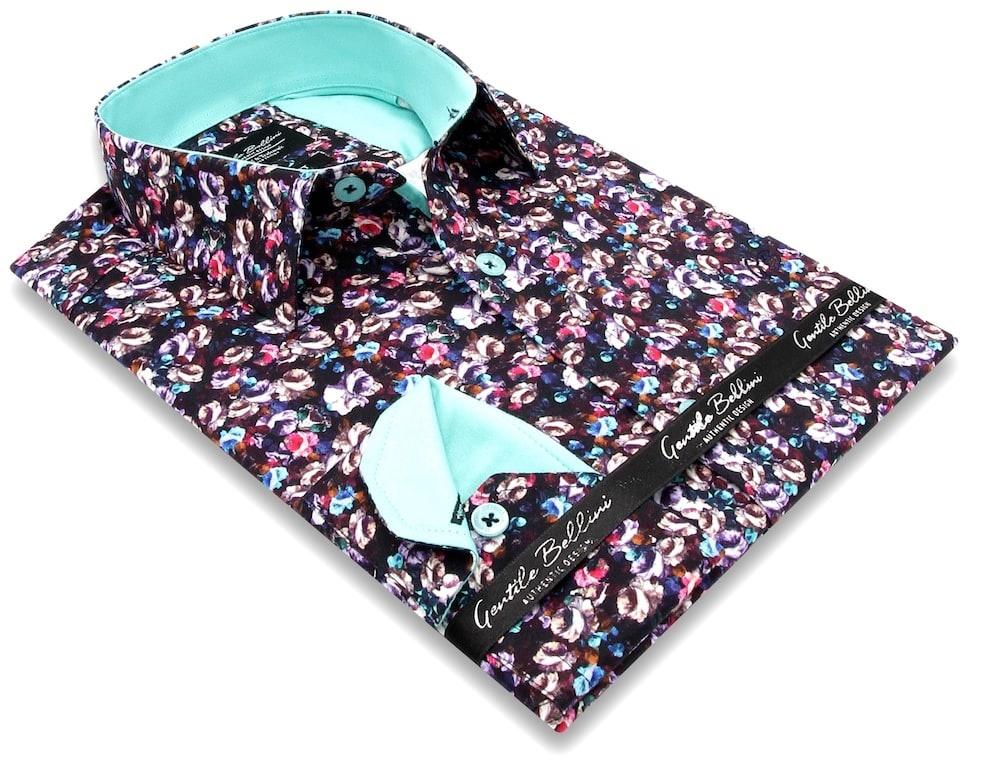 Heren Overhemd - Colored Bouquet Satin - Zwart-3