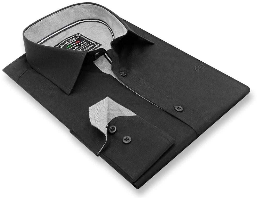 Heren Overhemd - Chambray Contrastbeleg - Zwart-3