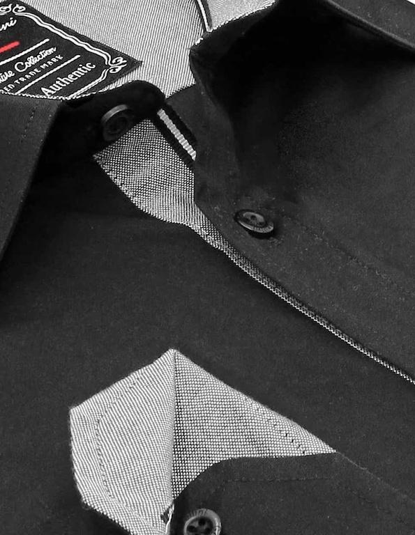 Heren Overhemd - Chambray Contrastbeleg - Zwart-2