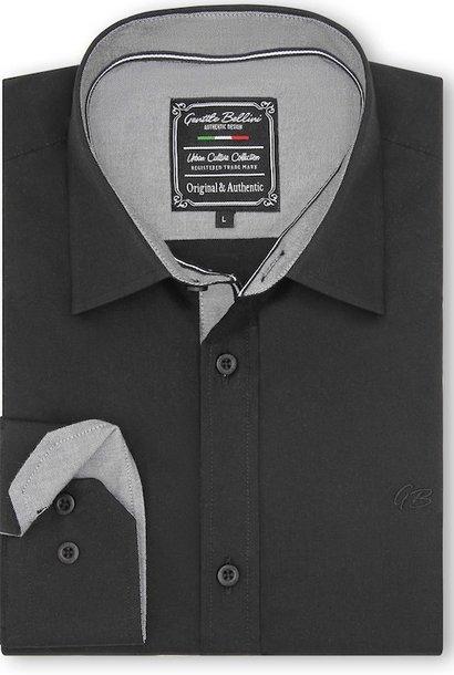 Heren Overhemd - Chambray Contrastbeleg - Zwart