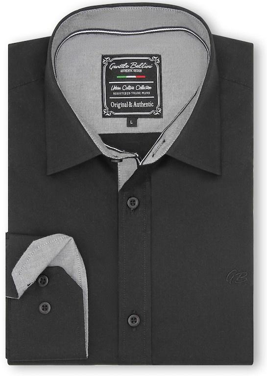 Heren Overhemd - Chambray Contrastbeleg - Zwart-1