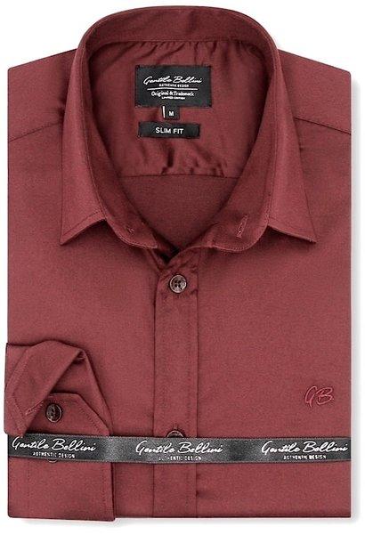 Heren Overhemd - Luxury Plain Satin - Bordeaux