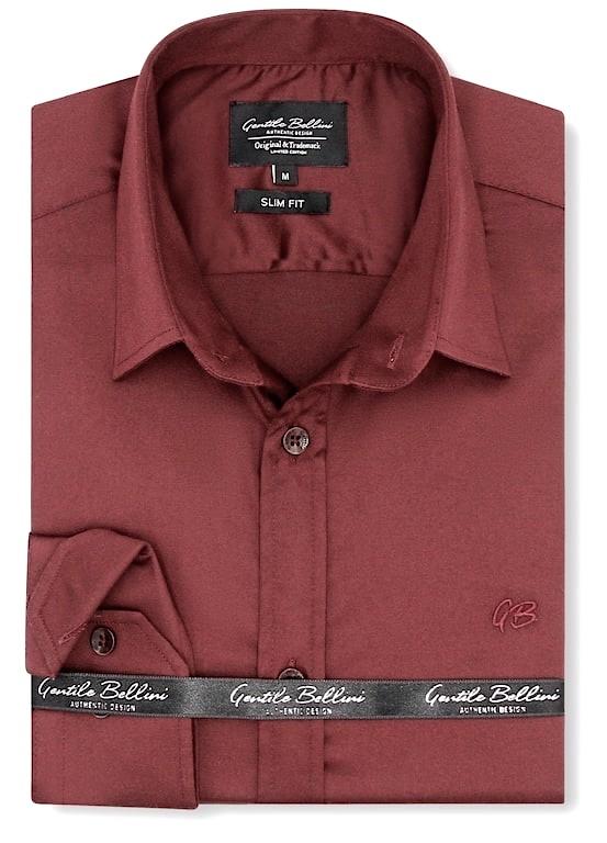 Heren Overhemd - Luxury Plain Satin - Bordeaux-1