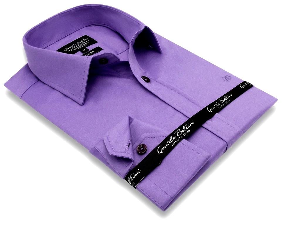 Heren Overhemd - Luxury Plain Satin - Paars-3