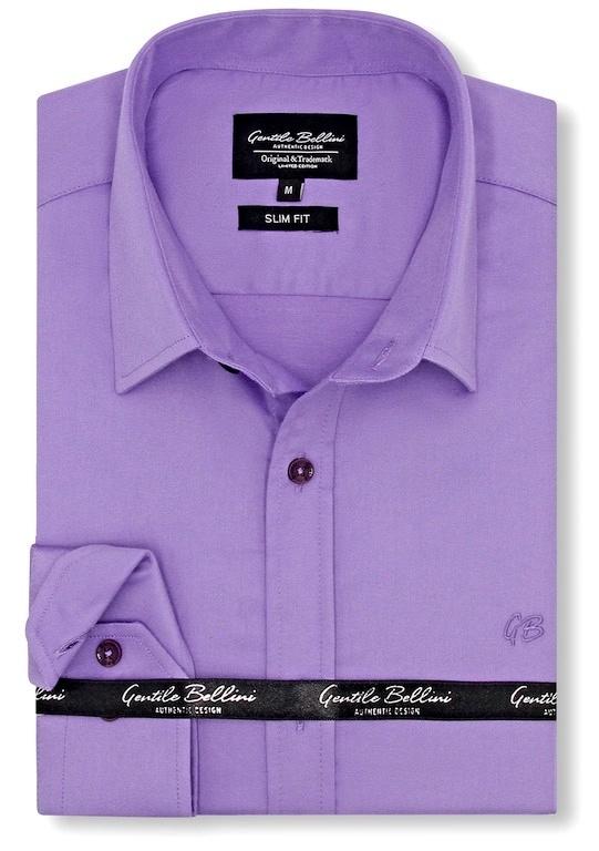 Heren Overhemd - Luxury Plain Satin - Paars-1