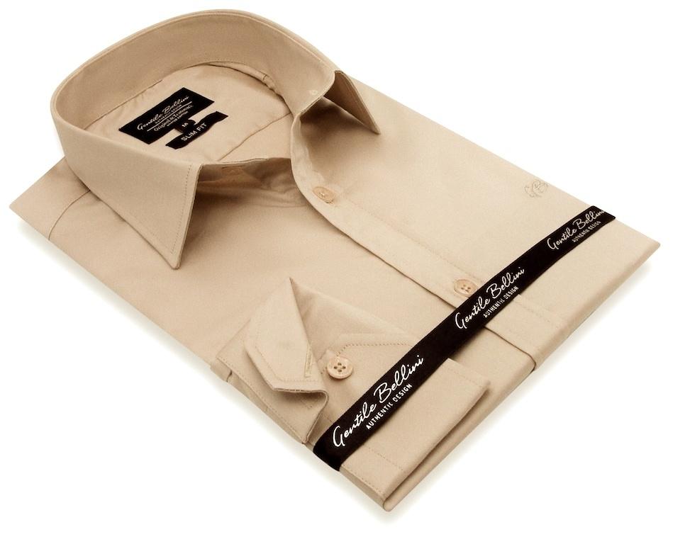 Heren Overhemd - Luxury Plain Satin - Beige-3