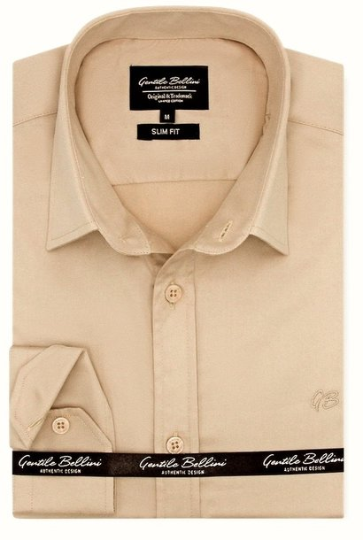 Heren Overhemd - Luxury Plain Satin - Beige