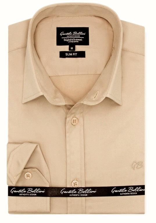 Heren Overhemd - Luxury Plain Satin - Beige-1