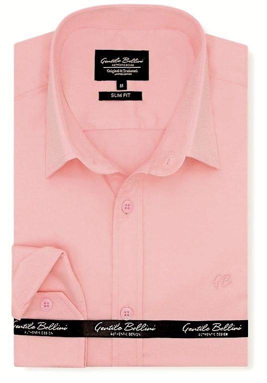 Heren Overhemd - Luxury Plain Satin - Roze-1