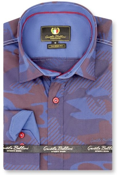 Heren Overhemd - Striped Army Camouflage - Paars