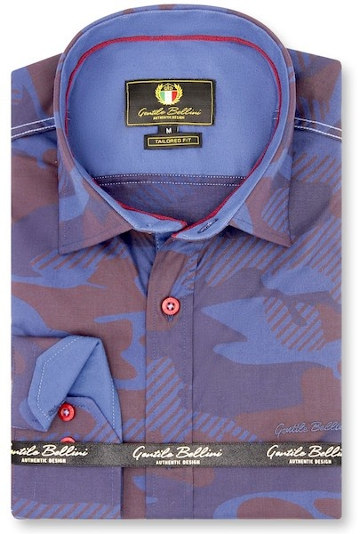 Heren Overhemd - Striped Army Camouflage - Paars-1