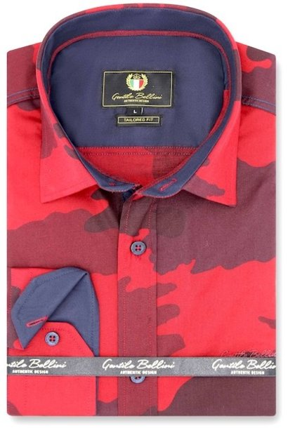 Heren Overhemd - Army Camouflage - Rood