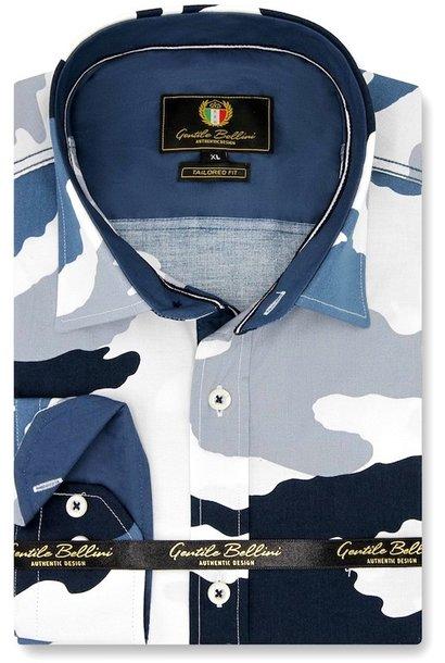 Heren Overhemd - Army Camouflage - Blauw