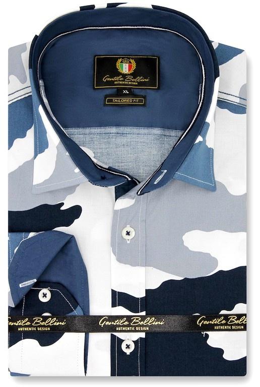 Heren Overhemd - Army Camouflage - Blauw-1