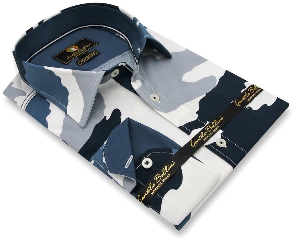 Heren Overhemd - Army Camouflage - Blauw-3