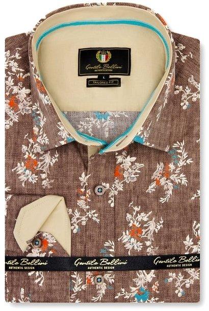 Heren Overhemd - Spring Leaves - Bruin