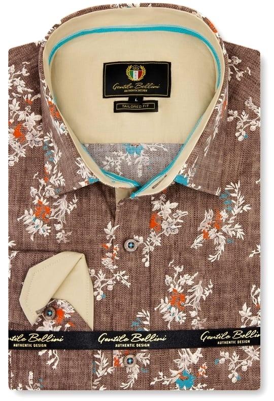 Heren Overhemd - Spring Leaves - Bruin-1