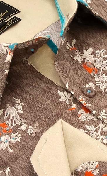 Heren Overhemd - Spring Leaves - Bruin-2
