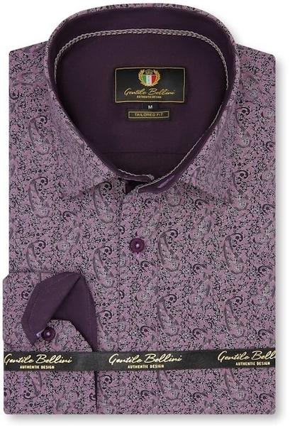 Heren Overhemd - Paisley Art - Paars-1