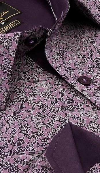 Heren Overhemd - Paisley Art - Paars-2