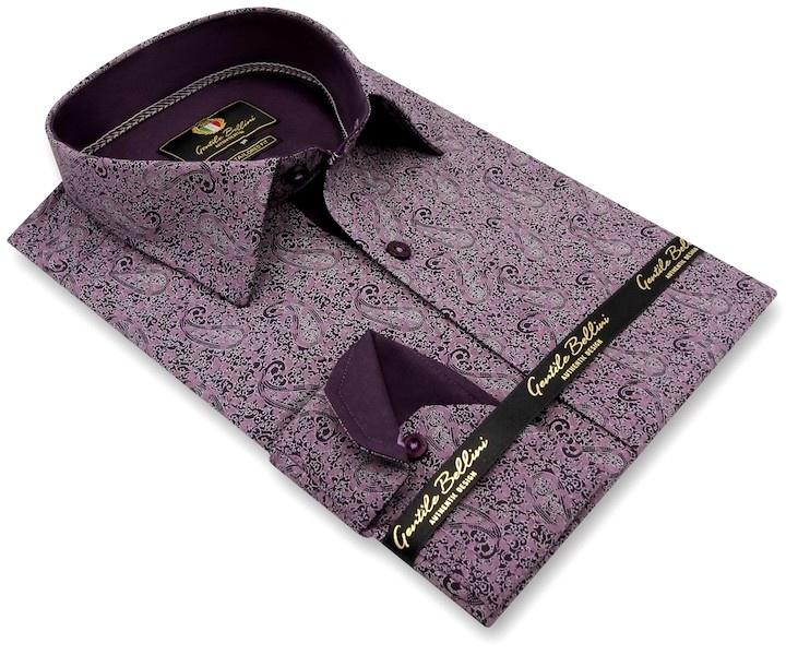 Heren Overhemd - Paisley Art - Paars-3