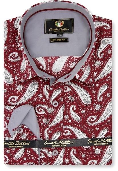 Heren Overhemd - Paisley Shirt  - Rood-1