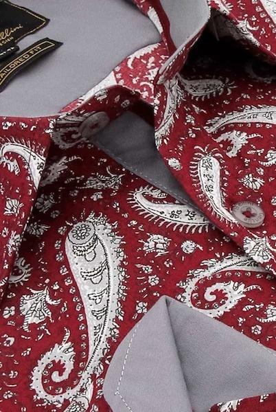Heren Overhemd - Paisley Shirt  - Rood-2