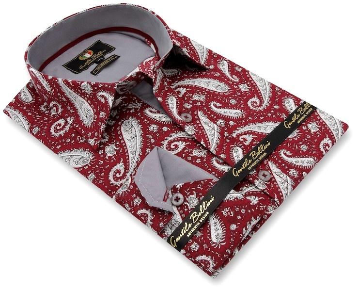 Heren Overhemd - Paisley Shirt  - Rood-3