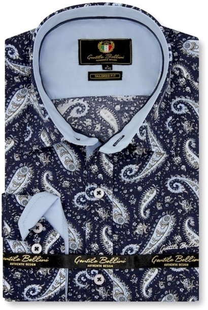 Heren Overhemd - Paisley Shirt  - Blauw