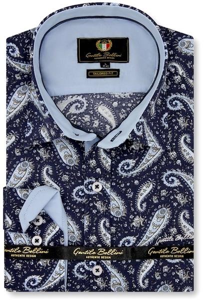 Heren Overhemd - Paisley Shirt  - Blauw-1