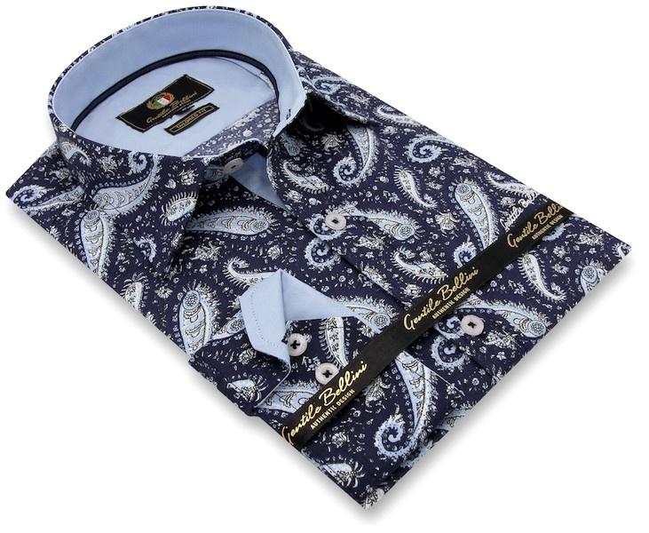 Heren Overhemd - Paisley Shirt  - Blauw-3